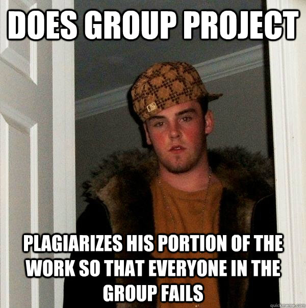 does group project plagiarizes his portion of the work so that everyone in the group fails - does group project plagiarizes his portion of the work so that everyone in the group fails  Scumbag Steve