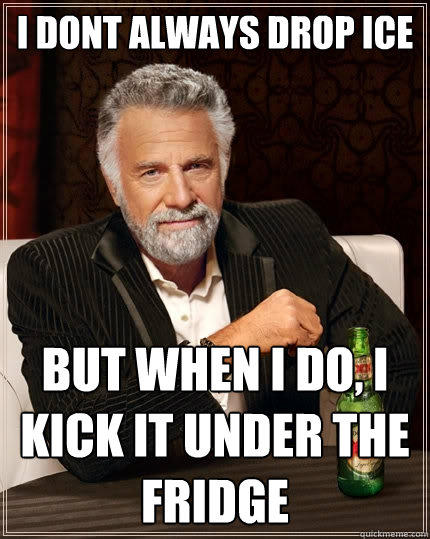I dont always drop ice but when i do, i kick it under the fridge - I dont always drop ice but when i do, i kick it under the fridge  The Most Interesting Man In The World