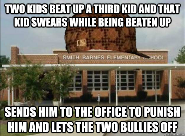 Two kids beat up a third kid and that kid swears while being beaten up sends him to the office to punish him and lets the two bullies off
