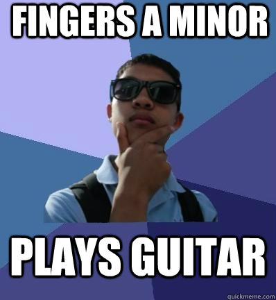 fingers a minor plays guitar