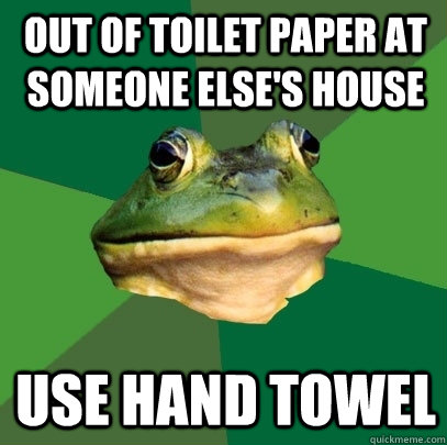 Out of toilet paper at someone else's house use hand towel - Out of toilet paper at someone else's house use hand towel  Foul Bachelor Frog