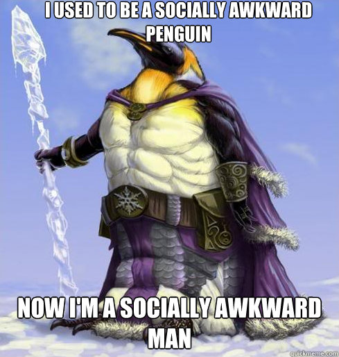 I used to be a socially awkward penguin Now I'm a socially awkward man