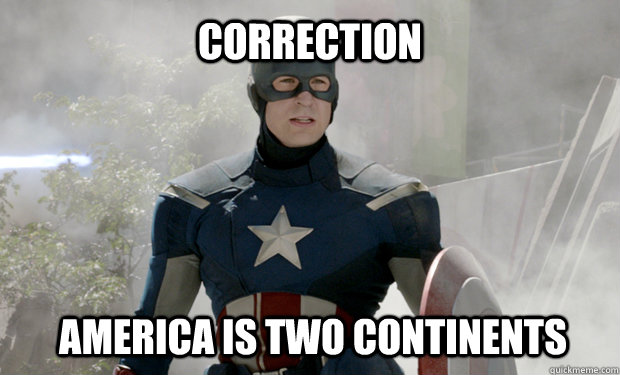 Correction America is two continents