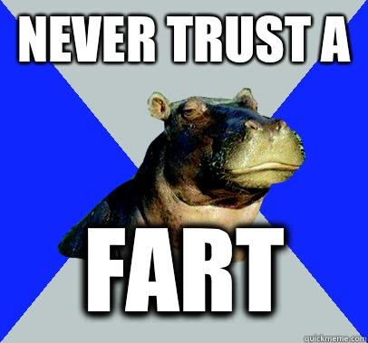 NEVER TRUST A  FART - NEVER TRUST A  FART  Skeptical Hippo