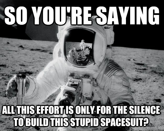 So you're saying All this effort is only for the silence to build this stupid spacesuit? - So you're saying All this effort is only for the silence to build this stupid spacesuit?  Moon Man