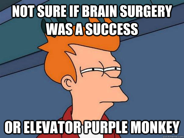 Not sure if brain surgery was a success Or elevator purple monkey - Not sure if brain surgery was a success Or elevator purple monkey  Futurama Fry