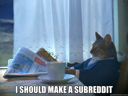 I should make a subreddit -  I should make a subreddit  The One Percent Cat