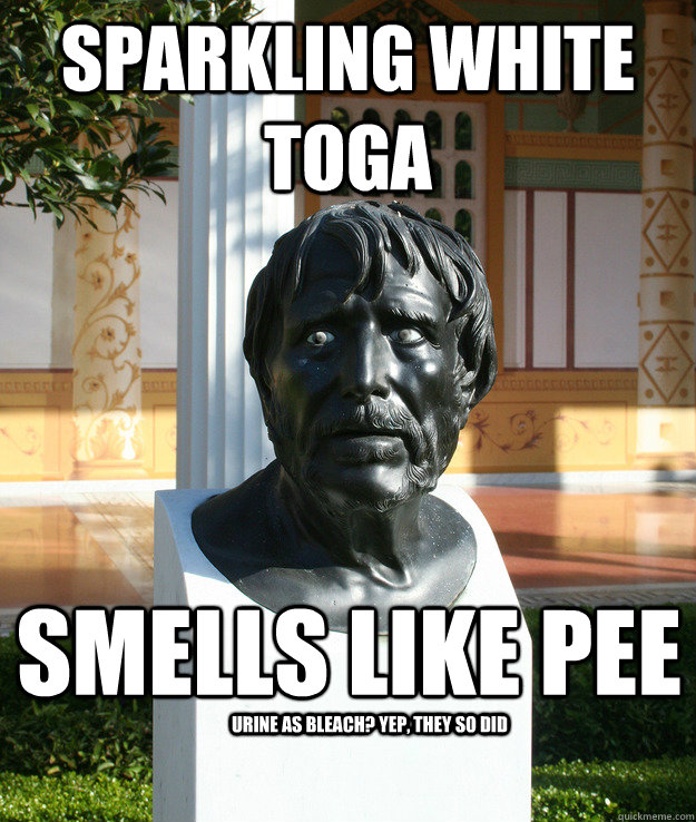 sparkling white toga smells like pee urine as bleach? yep, they so did  Ancient World Problems