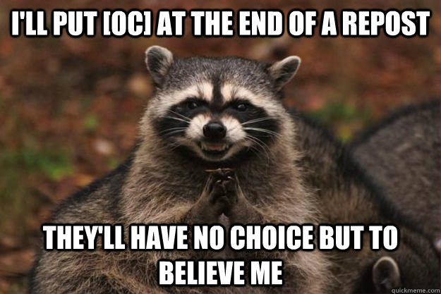 I'll put [oc] at the end of a repost they'll have no choice but to believe me - I'll put [oc] at the end of a repost they'll have no choice but to believe me  Evil Plotting Raccoon