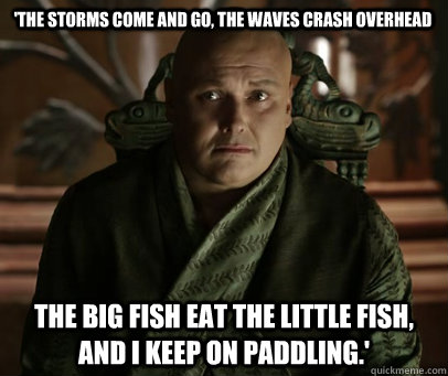 'The storms come and go, the waves crash overhead the big fish eat the little fish, and I keep on paddling.'