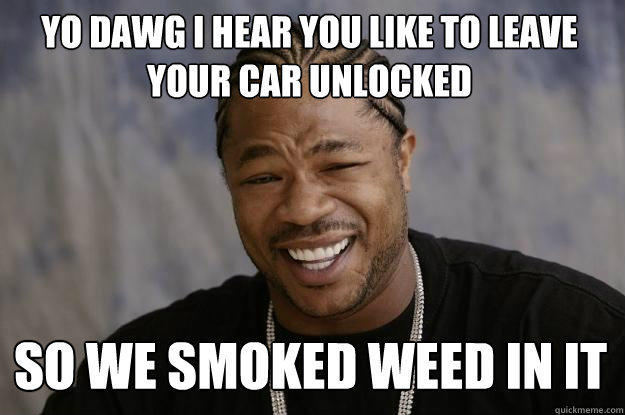 YO DAWG I HEAR YOU LIKE TO LEAVE YOUR CAR UNLOCKED SO WE SMOKED WEED IN IT  Xzibit meme
