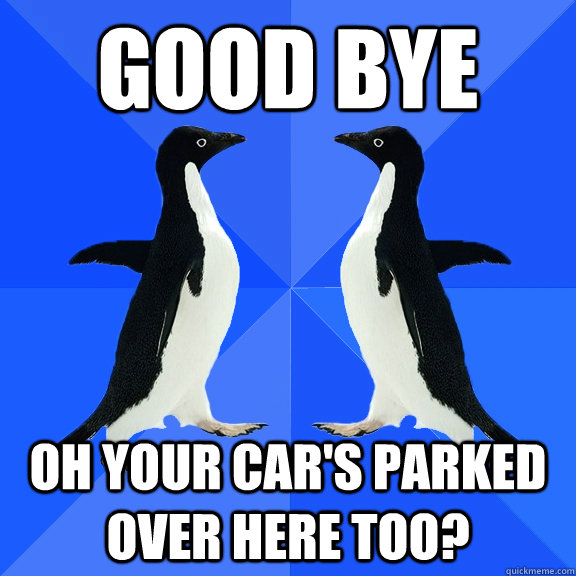 Good Bye Oh your car's parked over here too?  Dancing penguins
