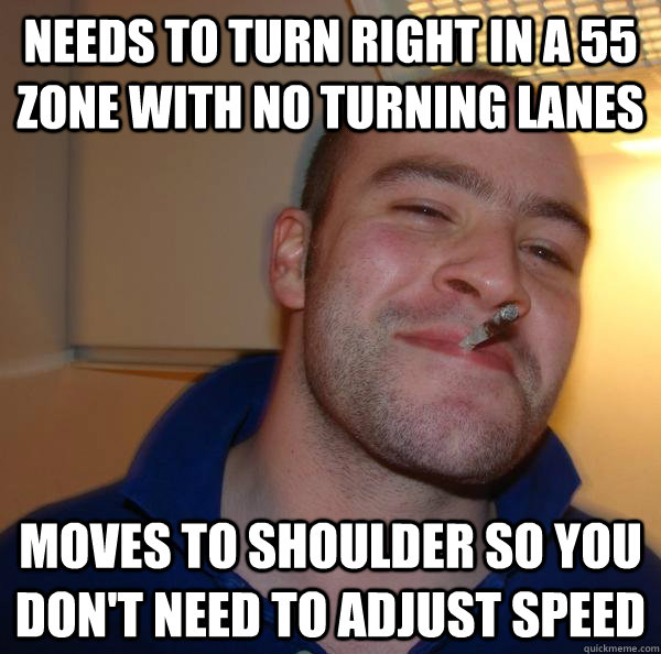 Needs to turn right in a 55 zone with no turning lanes moves to shoulder so you don't need to adjust speed - Needs to turn right in a 55 zone with no turning lanes moves to shoulder so you don't need to adjust speed  Misc