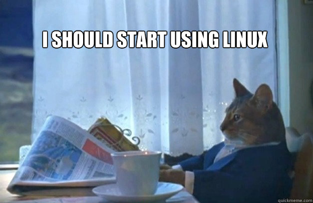 I Should start using linux        - I Should start using linux         Sophisticated Cat