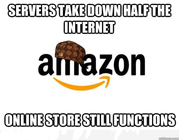 Servers take down half the internet online store still functions - Servers take down half the internet online store still functions  Scumbag Amazon