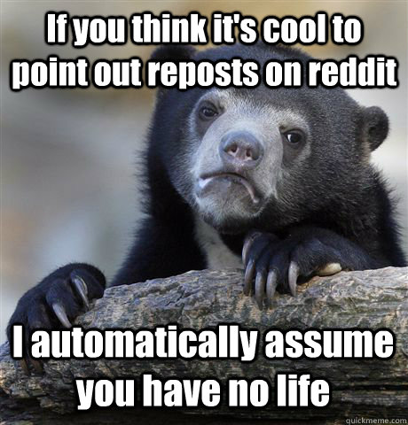 If you think it's cool to point out reposts on reddit I automatically assume you have no life - If you think it's cool to point out reposts on reddit I automatically assume you have no life  Confession Bear