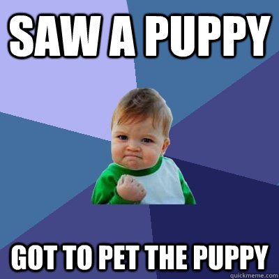 SAW A PUPPY  GOT TO PET THE PUPPY - SAW A PUPPY  GOT TO PET THE PUPPY  Success Kid