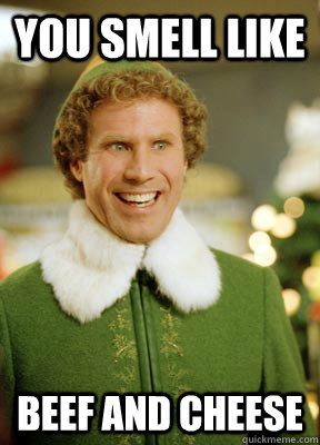 you smell like beef and cheese - you smell like beef and cheese  Buddy the Elf
