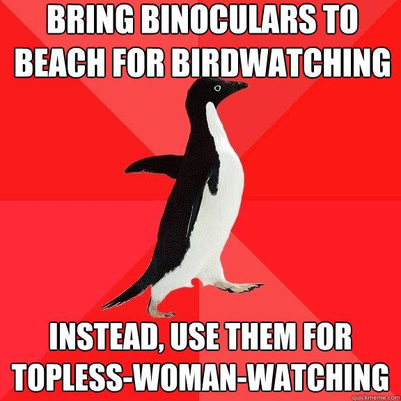 Topless girl beach birdwatching — bild 8
