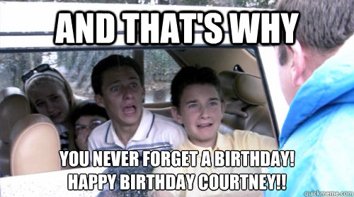 And that's why   you never forget a birthday! Happy Birthday Courtney!!