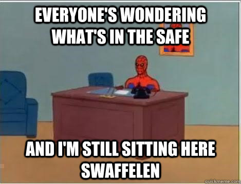 everyone's wondering what's in the safe and i'm still sitting here swaffelen - everyone's wondering what's in the safe and i'm still sitting here swaffelen  Spiderman Desk