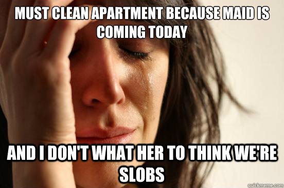 Must clean apartment because maid is coming today And I don't what her to think we're slobs - Must clean apartment because maid is coming today And I don't what her to think we're slobs  First World Problems