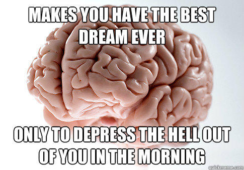 makes you have the best dream ever only to depress the hell out of you in the morning - makes you have the best dream ever only to depress the hell out of you in the morning  Scumbag Brain