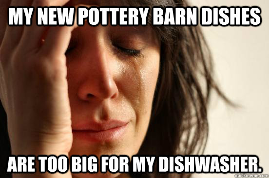 35e748910eefbed8ba61fd73ce5c8ab8b2e9d2c485be8dbce885eefb6a7497f4 my new pottery barn dishes are too big for my dishwasher first,Funny Barn Memes