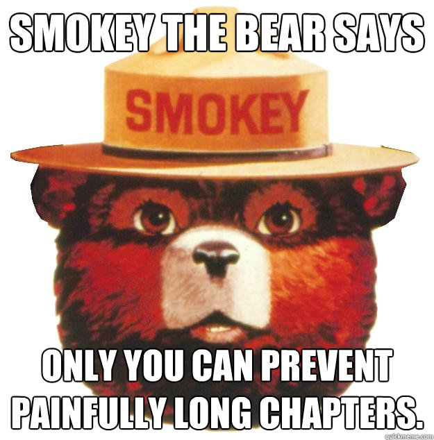 Smokey the Bear says Only you can prevent painfully long chapters.  Smokey the Bear Says