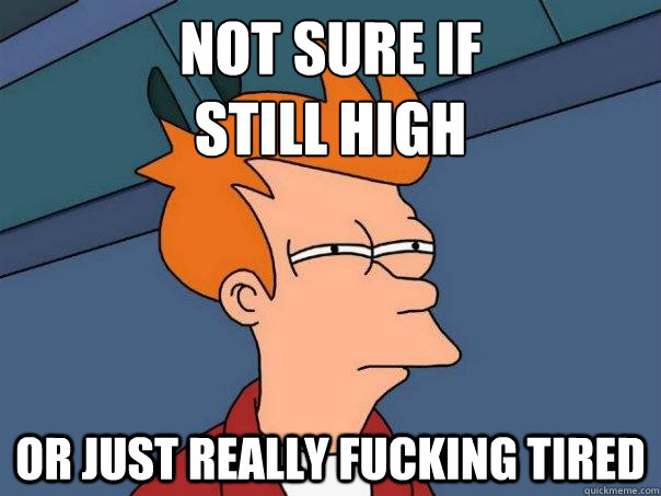 Not sure if  still high Or just really fucking tired - Not sure if  still high Or just really fucking tired  Futurama Fry