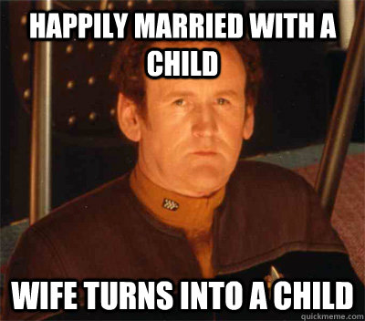 Happily married with a child wife turns into a child