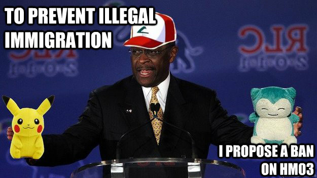 To prevent illegal immigration I propose a ban on HM03  Pokemon Master Herman Cain