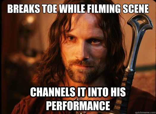 Breaks toe while filming scene Channels it into his performance