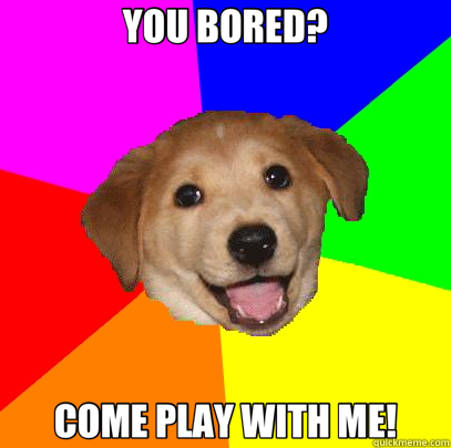 3645585f0cb7affb23c0e1ea05507b6bfe96dbc78c9ef976a84991a9cb99df93 you bored? come play with me! advice dog quickmeme,Play With Me Meme