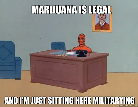 Marijuana is Legal And i'm just sitting here militarying - Marijuana is Legal And i'm just sitting here militarying  masturbating spiderman