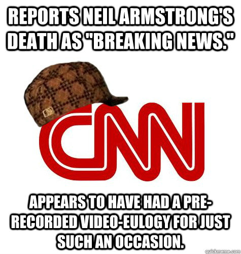 Reports Neil Armstrong's death as