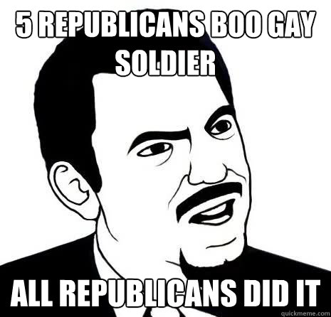 5 Republicans Boo Gay Soldier All republicans did it
