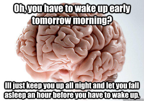 Oh, you have to wake up early tomorrow morning? Ill just keep you up all night and let you fall asleep an hour before you have to wake up. - Oh, you have to wake up early tomorrow morning? Ill just keep you up all night and let you fall asleep an hour before you have to wake up.  Scumbag Brain
