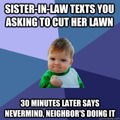 sister-in-law texts you asking to cut her lawn 30 minutes later says nevermind, neighbor's doing it - sister-in-law texts you asking to cut her lawn 30 minutes later says nevermind, neighbor's doing it  Success Kid