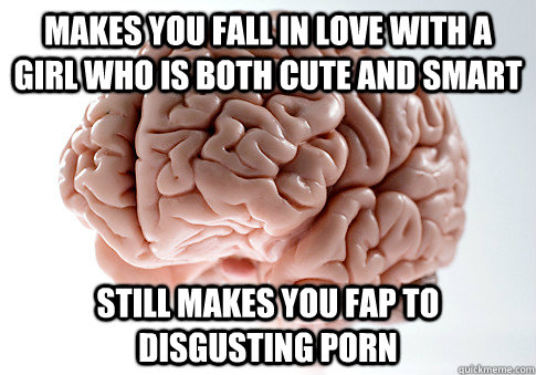 makes you fall in love with a girl who is both cute and smart still makes you fap to disgusting porn  - makes you fall in love with a girl who is both cute and smart still makes you fap to disgusting porn   Scumbag Brain