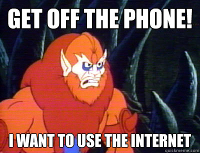 Get off the phone! I want to use the internet
