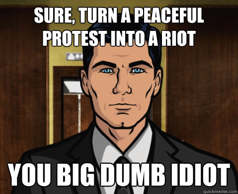 sure, turn a peaceful protest into a riot you big dumb idiot