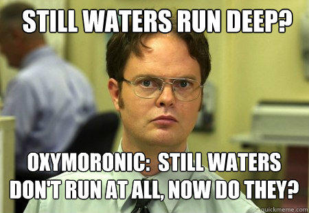 Still waters run deep? Oxymoronic:  Still waters don't run at all, now do they? - Still waters run deep? Oxymoronic:  Still waters don't run at all, now do they?  Schrute