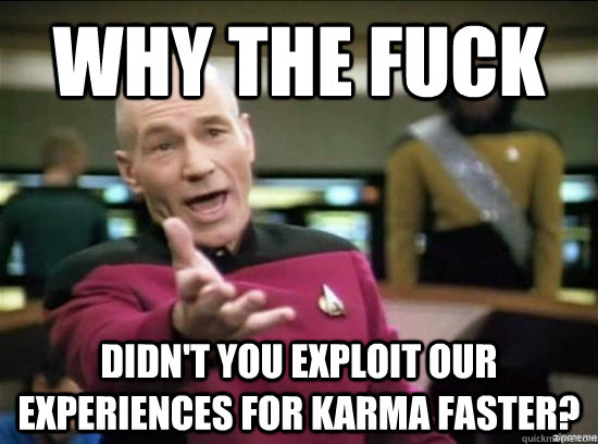 Why the fuck didn't you exploit our experiences for karma faster? - Why the fuck didn't you exploit our experiences for karma faster?  Misc