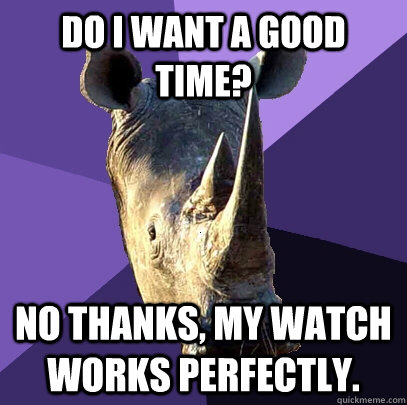 Do I want a good time? No thanks, my watch works perfectly.  Sexually Oblivious Rhino