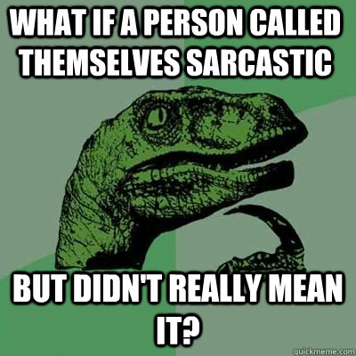 What if a person called themselves sarcastic But didn't really mean it?  - What if a person called themselves sarcastic But didn't really mean it?   Misc