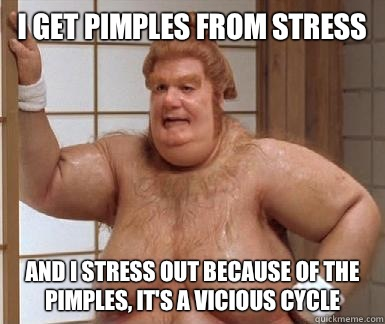 I get pimples from stress and I stress out because of the pimples, it's a vicious cycle - I get pimples from stress and I stress out because of the pimples, it's a vicious cycle  Misc