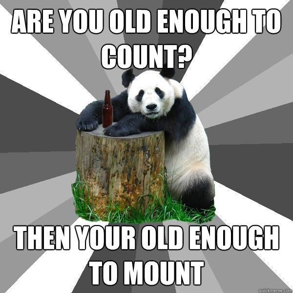 Are you old enough to count? then your old enough to mount - Are you old enough to count? then your old enough to mount  Pickup-Line Panda