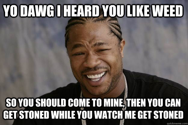 Yo dawg I heard you like weed So you should come to mine, then you can get stoned while you watch me get stoned  Xzibit meme