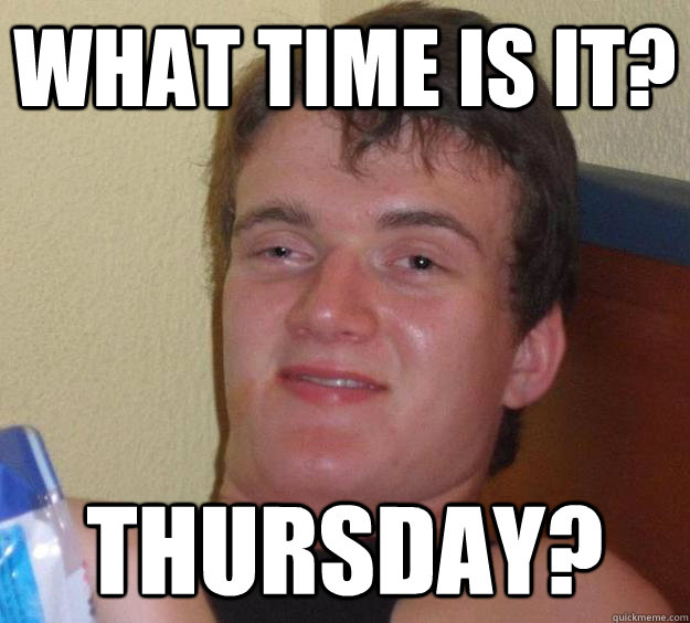 What time is it? thursday? - What time is it? thursday?  10 Guy